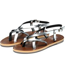 sliver simple strappy flat sandalias