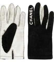 chanel pre-owned 1994-1995 logos gloves - silver