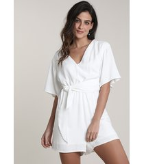 macaquinho feminino salinas com faixa para amarrar manga curta off white