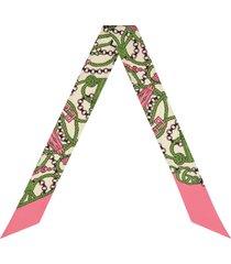 gucci gg tassels-print skinny scarf - pink