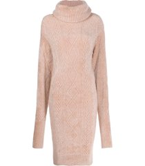 alexandre vauthier cable-knit jumper dress - pink