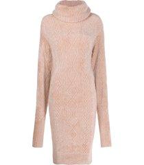 alexandre vauthier cable-knit jumper dress - pink