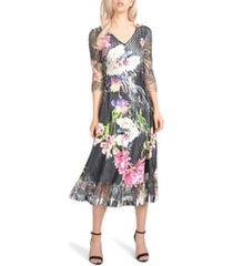 women's komarov charmeuse & chiffon midi dress, size large - black