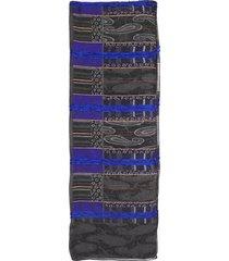 etro printed silk scarf gray/purple sz: