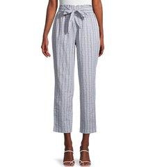 bcbgeneration women's high-rise tie front pants - white blue - size m