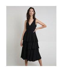 vestido feminino midi canelado em camadas sem manga preto