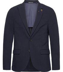 classic half-lined summer seersucker blazer blazer colbert blauw scotch & soda