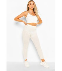 rib knit leggings, ivory