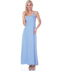 white mark women's backless striped maxi dress