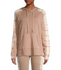 allison new york women's tie-dyed cotton hoodie - mocha - size l
