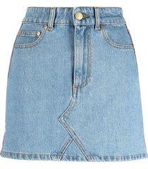 chiara ferragni blue cotton-denim skirt
