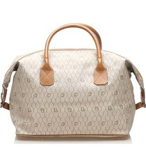 christian dior honeycomb coated canvas travel bag brown, beige, brown, light brown sz: e