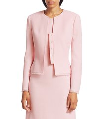 akris punto women's garry wool crêpe double face jacket - blush - size 6