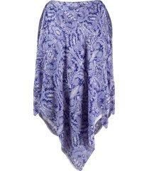 etro paisley print poncho tunic - blue