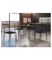 conjunto de mesa de jantar grécia com tampo de vidro mocaccino e 4 cadeiras atos couríssimo preto e café