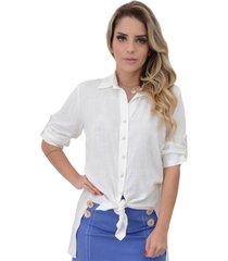 camisa mamorena manga 3/4 com abertura lateral off white - kanui