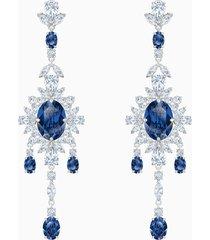 orecchini chandelier palace, azzurro, placcatura rodio