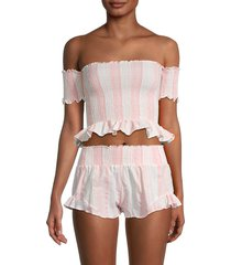 peixoto women's nina shirred crop top - pink white stripe - size m