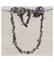 tourmaline beaded necklace, 'fruitful earth' (brazil)