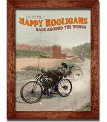 """cuadro decorativo vintage motorcycles """"happy hooligans"""" 34x44 cms / marco de madera pintado a mano"""