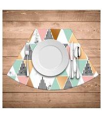 jogo americano para mesa redonda wevans multi triângulos marble kit com 6 pçs