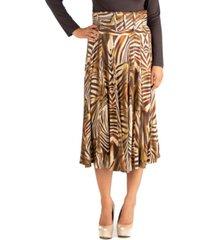 24seven comfort apparel midi length animal print skirt with belt
