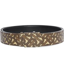 burberry monogram print e-canvas belt - brown