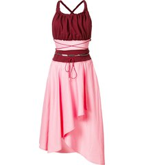 gathered bodice belted dress