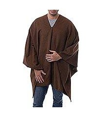 men's alpaca blend poncho, 'inca explorer in dark brown' (peru)