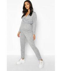 zwangerschaps lounge wikkel jumpsuit, grijs