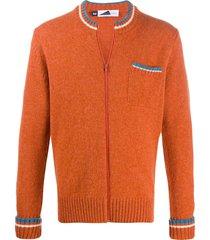 anglozine zipped fitted cardigan - orange