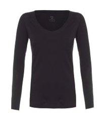 t-shirt feminina pima berlim decote u - preto