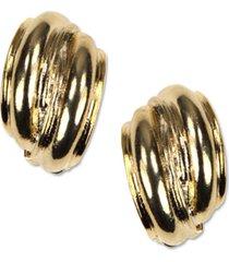 anne klein earrings, gold-tone button e-z comfort clip on earrings