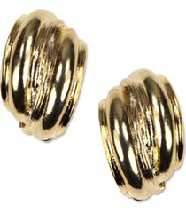anne klein earrings, gold-tone button e-z comfort clip on earrings