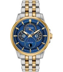 citizen eco-drive men's calendrier two-tone stainless steel bracelet watch 44mm