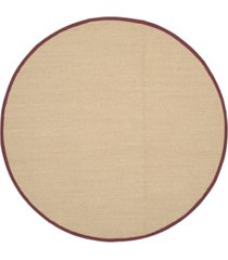 safavieh natural fiber maize and burgundy 6' x 6' sisal weave round rug