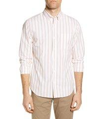 men's bonobos slim fit stripe button-down shirt, size x-large r - white