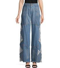 wide-leg fringe jeans
