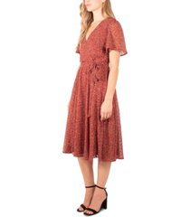 ny collection petite printed flutter-sleeve a-line dress