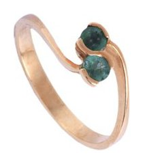 anel feminino ouro 18k aro fino duas esmeraldas lafry