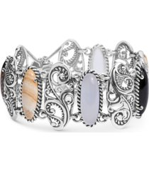carolyn pollack multi-stone swirl bangle bracelet in sterling silver
