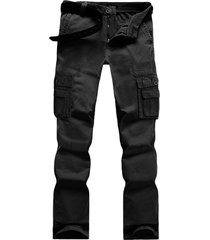 los hombres carga casual pantalón con cintura media monos de varios bolsillos con cremallera volar