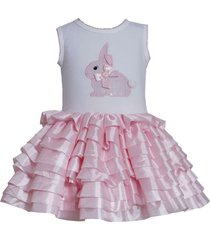 bonnie jean baby girl 3m-24m sequin bunny rabbit knit to tier skirt dress