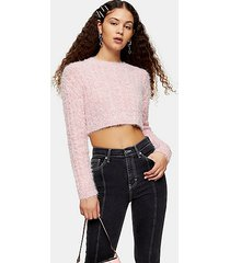 pink fluffy cable crop knitted sweater - pink