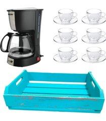 kit 1 cafeteira mallory 220v,1 jogo de 6 xícaras 90ml com pires e 1 bandeja em mdf azul - tricae