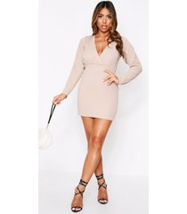 textured plunge wrap mini dress, taupe