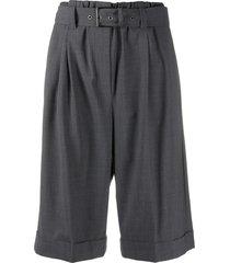 brunello cucinelli high-rise pleated bermuda shorts - grey