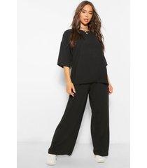oversized luxe top en wide leg broek set, zwart