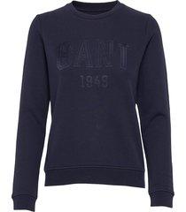 d2. gant 1949 c-neck sweat sweat-shirt trui blauw gant
