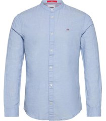 tjm mao linen blend shirt skjorta casual blå tommy jeans